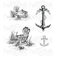 Heartfelt Creations Balmy Breeze Seascape Cling Stamp Set HCPC-3531
